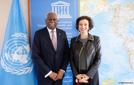His Excellency High Commissioner Frederick H. Case meets the Director General of UNESCO Ms. Audrey Azoulay